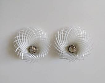 SALE vintage 50's woven web earrings with rhinestone center in white