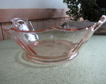 Etched Pink Depression Glass Bowl with Handles Vintage Blush Depression Glass