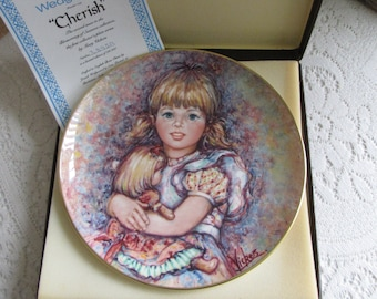 """Mary Vickers Decorative Plate The Blossoming of Suzanne Wedgwood Series Second Issue """"Cherish"""" Bone China Bradford Exchange"""