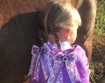 SHORTY 4X4 Horse Show Hair Bows/purple sparkle gem/Halloween/Unicorn/Princess