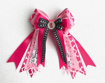 Horse Show Hair Bows/Pink Glitter Sparkle gem/Beautiful Gift