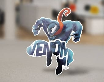 "Venom Sticker Typography Design from the Marvel Universe with his name, ""Venom"" in Blue and Red Spiderman Laptop Sticker Decal"