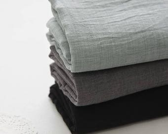 Single Washed Cotton Gauze Fabric by Yard - Gray, Dark Gray, Black Cotton Gauze
