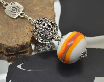 Necklace 76 cm glass beads handmade Lampwork white yellow orange khaki chain 925 sterling silver!