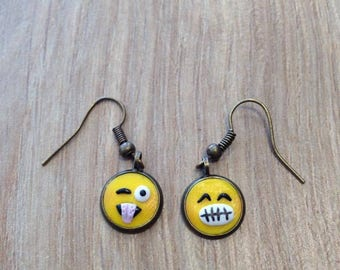 Earrings dangling yellow smileys