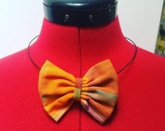 Orange madras bow Choker necklace