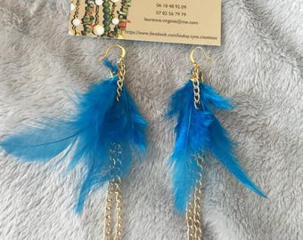 Earring chain Golden Feather with chain and in original blue natural Peacock feather pattern for women or