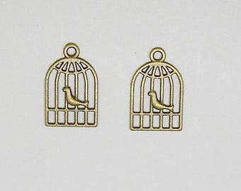 2 charms with bird cage bronze 20 mm x 18 mm