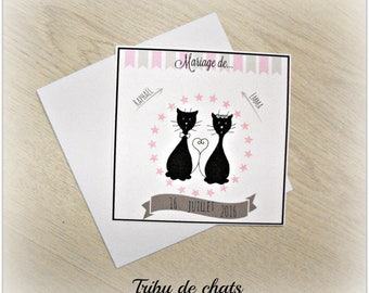 cats, pink and gray flags mariageTribu invitation