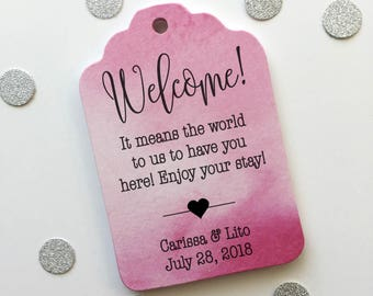 Destination Wedding Personalized Watercolor Favor Tags, Watercolor Wedding Shower Favor Tags, Multicolor Hang Tags (ST-184-WC)