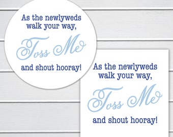 Toss Me Wedding Confetti Stickers, Wedding Sticker, Wedding Bird Seed Stickers, Wedding labels (#287-2)