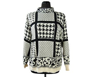 Vintage 1980s Country Suburbans Acrylic Black and White Houndstooth Mock Turtleneck Sweater
