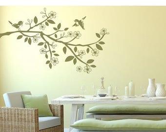 20% OFF Summer Sale Sparrow Branch wall paper decal, sticker, mural, vinyl wall art
