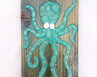 Sea glass Octopus wall decor Sea glass mosaic octopus beach glass art octopus puka shell glass coral octopus art beach house coastal decor