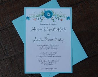 Blue and Pink Wedding Invitations, Floral Wedding Invitation, Blue Wedding Invitation, Spring Wedding Invitation, Pink Wedding Invitation