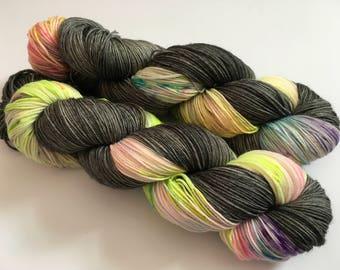Midnight Rave Hand Dyed Superwash Merino/ Nylon Sock Yarn
