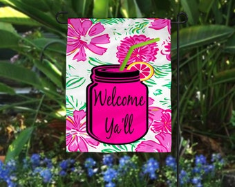 Custom Welcome Y'all Mason Jar garden flag/Mason Jar/Southern flags/flags/Any image you want on them