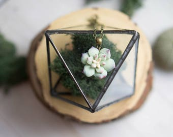 Mint green Succulent necklace. Botanical necklace. Succulent jewelry. Succulent pendant. Vintage necklace