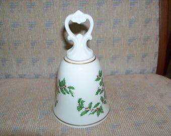 """Vintage Lenox Holiday (Dimension shape) Gold Fine China Bell with Sculpted Handle - 5.5""""- Holly and Berries Design"""
