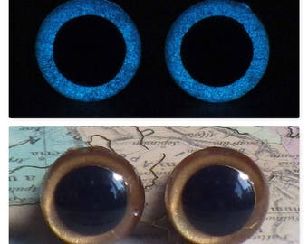 10mm Glow In The Dark Eyes, Metallic Dark Gold Safety Eyes With Blue Glow, 1 Pair Of Glow In The Dark Safety Eyes