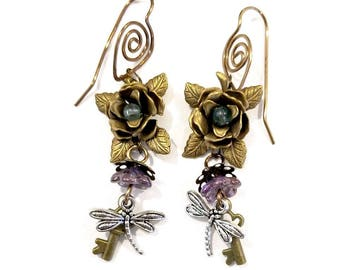 Royal Fairytale Floral Earrings in Purple Renaissance #1405