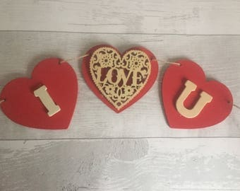 Handmade Shabby Chic  Wooden I Love You Bunting | Valentines Day Wood Detail Natural Twine