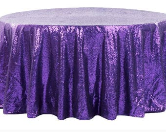 Purple Sequin Tablecloth,Purple Sequin Table Linen, Purple Table Runners, Purple  Tablecloth,