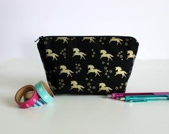 Gold Unicorn Makeup Bag | | Large Pencil Case | Large Makeup Bag | Purse Organizer | Planner Bag | Gadget Bag | Gift for Her