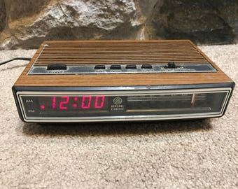 Vintage General Electric Wood-Grained Alarm Clock
