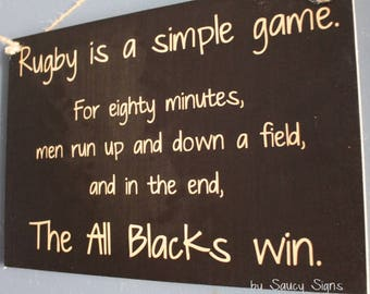 All Blacks Rugby Sign - Simple Game New Zealand Rugby Union Kiwi Football Sign