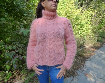 New hand knitted mohair sweater,Pink,Handmade pullover