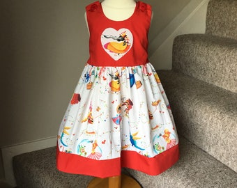 Girls party/summer dress Princesses/Fairy Castles/Friendly dragons/ spanish fabric. Age 4 years