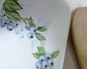 Spoon Rest Kitchen Blueberry Ceramic Pottery Porcelain Hand Painted Blueberry