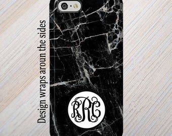 iPhone 8 Case, Monogram, iPhone 6 Case, iPhone 7 Case, iPhone 7 Plus Case, Galaxy S8 Case, Black Marble, iPhone 8 Plus Case Galaxy S7 Case