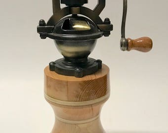 Antique handmade maple, cedar and pine  laminated wood  Pepper Grinder