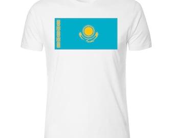 Flag of Kazakhstan Men's White T shirt