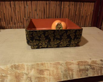 Japanese Square Black Gold Antique Red Lacquer Caddy Box