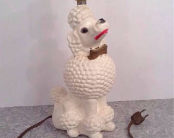 Vintage 1950s White Poodle Lamp Chalkware Painted Table Light Novelty Figure Figurine Original Retro 1960s Mid Century