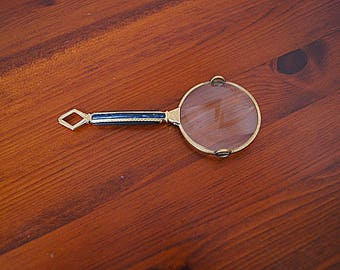Vintage Brass Magnifying Glass.