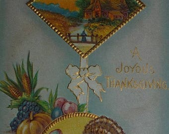 60% off till 8/15 Thanksgiving Scene With Turkey Antique Postcard