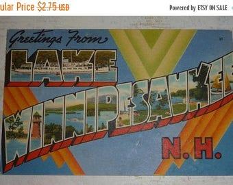 ON SALE Large Letter Greetings From Lake Winnipesaukee New Hampshire Vintage Postcard