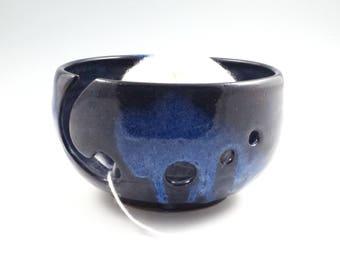 Blue on blue Yarn Bowl,Knitting  Bowl, Yarn Keeper,Pottery Yarn Bowl, Pottery Knitting Bowl,Ceramic Yarn Bowl, Ready to ship,Crochet Bowl