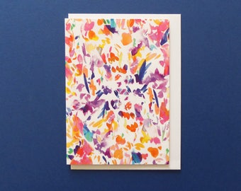 Colourful greeting card, Arty greeting card, Floral card, Cards for her, Multicoloured Design, Blank inside