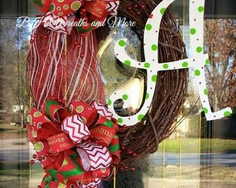 Monogram Christmas Grapevine Wreath