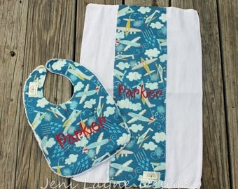 Infant/Toddler Bib with Monogram-  bib and burp cloth set, baby gift, monogrammed baby gift, monogrammed burp cloth, airplanes