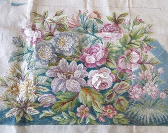 Antique Victorian French needlepoint canvas floral chair kit roses lilly large Rigaut Paris tapestry crafts vintage upholstery