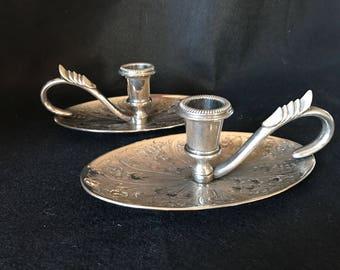 Pair of vintage ornate silver candleholders Seba candlesticks made in England