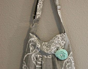 CHRISTMAS SALE Conceal Carry Purse-- Grey Floral Small Cross Body CCW Handbag