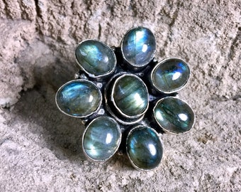 Blue Labradorite Ring 6.5 | Sterling Silver Ring | Flower and Blue Flash Color | Natural Labradorite Gemstone Jewelry