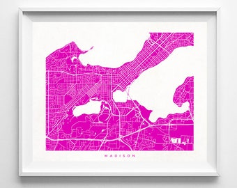 Madison Print, Wisconsin Print, Madison Poster, Wisconsin Poster, United States, Wall Art, Giclee Poster, Office Wall Decor, Valentines Day